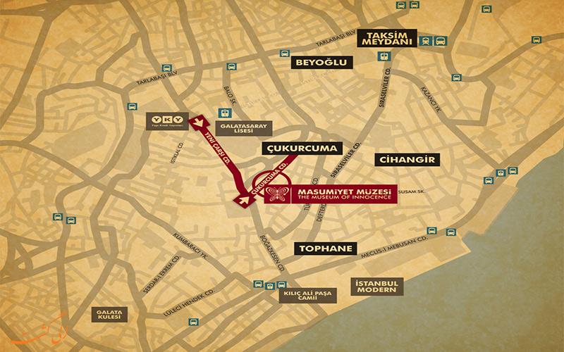 نقشه موزه معصومیت در استانبول