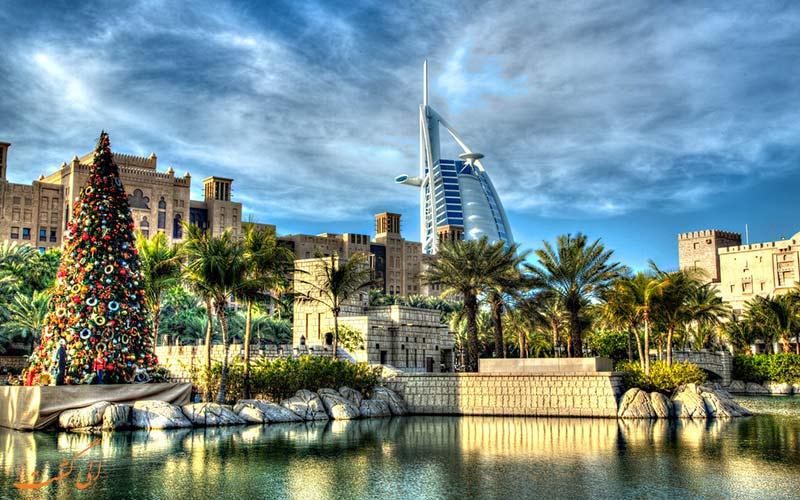 نمایی از شهر دبی در کریسمس