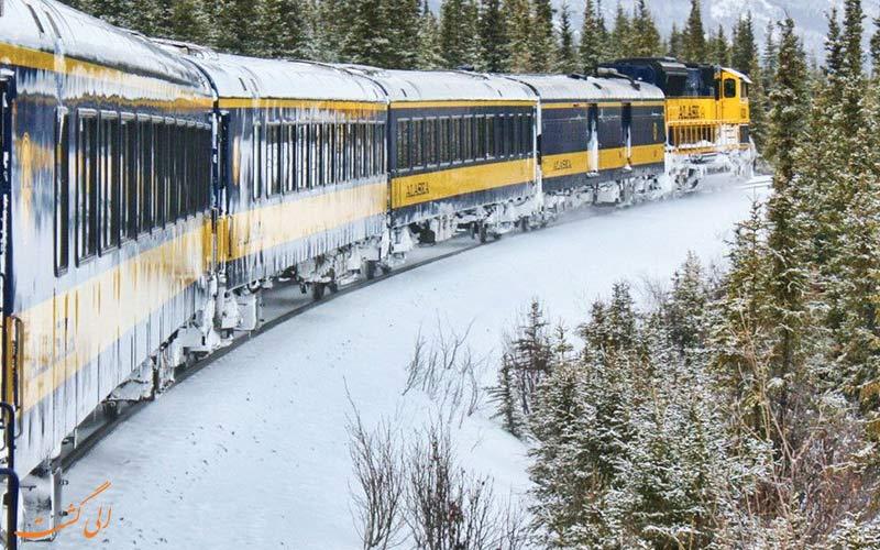 تصویر قطار در برف