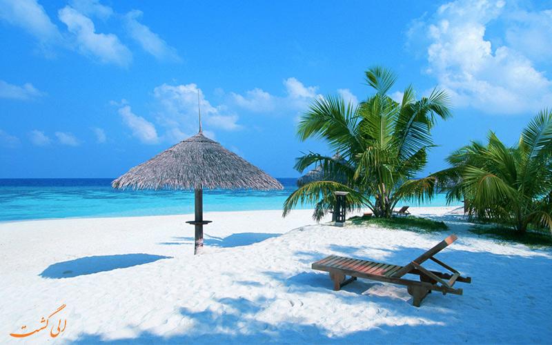 استراحت در ساحل زیبای کاناکونا با منظره رو به دریا و درختان نخل سبز