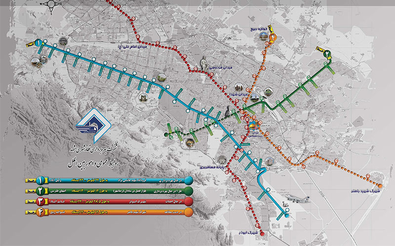 نقشه خطوط مترو از وسایل حمل و نقل عمومی در مشهد